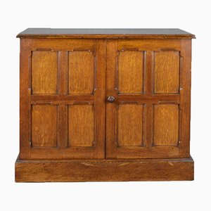 Antique Edwardian Oak Low Cabinet, 1910s