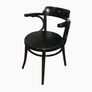 Vintage Black Coffee House Style Bentwood Armchairs, Set of 2