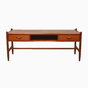 Low Teak Console with Two Drawers & Niche, 1960s