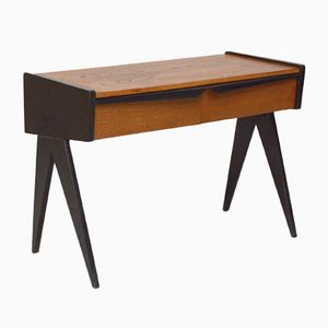 Low Two-Drawer Console with Compass Legs, 1950s