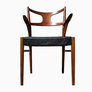 Sedia da scrivania in teak, quercia e pelle di Kurt Østervig per Randers Møbelfabrik, Danimarca, anni '50