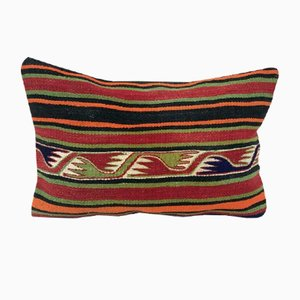 Green and Red Handwoven Kilim Lumbar Pillow Cover from Vintage Pillow Store Contemporary