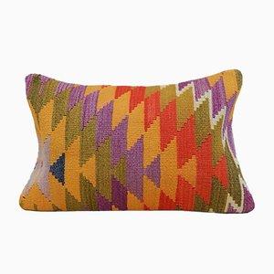 Langer bunter türkischer Kelim Kissenbezug mit Bohemien-Muster von Vintage Pillow Store Contemporary
