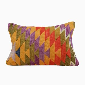 Long Turkish Multicolored Bohemian Kilim Pillow Cover from Vintage Pillow Store Contemporary