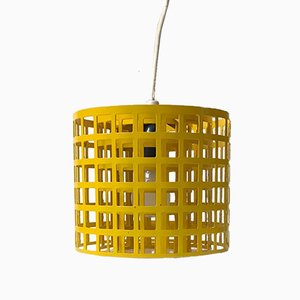 Lámpara colgante cubista Mid-Century amarilla de Lival, años 70