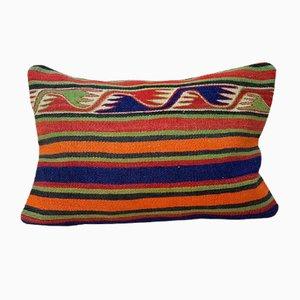 Housse de Coussin Lumbar Kilim Rayée Tissée à la Main de Vintage Pillow Store Contemporary