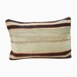 French Handmade Grainsack Wool Kilim Pillow Cover from Vintage Pillow Store Contemporary