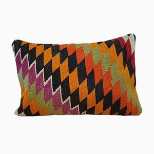Handwoven Orange & Green Kilim Pillow Cover with Diamond Pattern from Vintage Pillow Store Contemporary