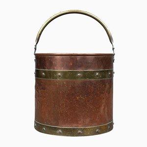 Antique English Fireside Scuttle Bucket, 1890s