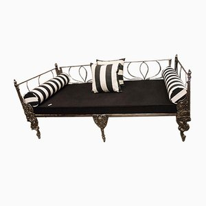 19th-Century Napoleon III French Black Cast Iron Daybed