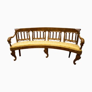 19th-Century Louis Philippe Style French Carved Walnut Bench