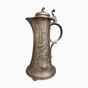 French Art Nouveau Floral Motif Pewter Tankard