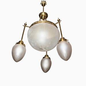 Art Nouveau French White Cut Crystal & Bronze Chandelier, 1900s