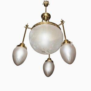 Lampadario Art Nouveau in cristallo bianco e bronzo, Francia, inizio XX secolo