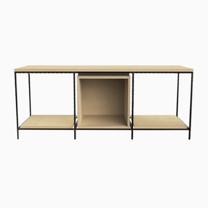 Small Steel & Birch Wood Italic TV Cabinet from CRP.XPN