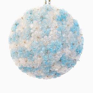 Lámpara de techo floral vintage de cristal de Murano de Seguso