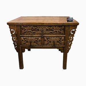 19th-Century Chinese Carved Elm Chest with 3 Front Drawers