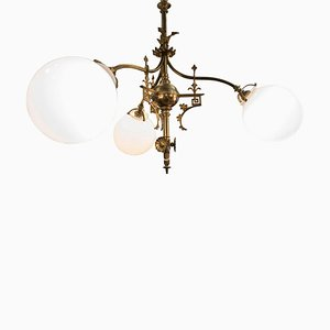 Art Nouveau French Cast Bronze, Mercury Gold & Opaline Glass Chandelier, 1900s