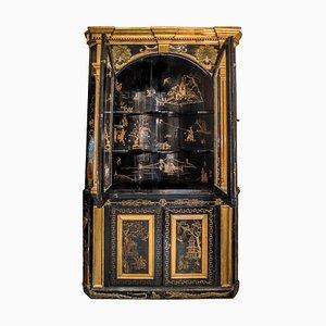 Armario esquinero inglés colonial de madera dorada y negra, década de 1860