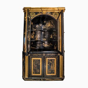 English Colonial Black & Golden Wood Corner Cupboard, 1860s