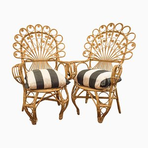 Spanish Wicker Armchairs, 1960s, Set of 2