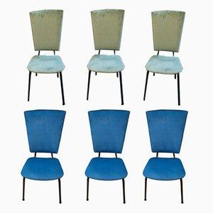Italienische Mid-Century Stühle in Blau & Grün, 6er Set