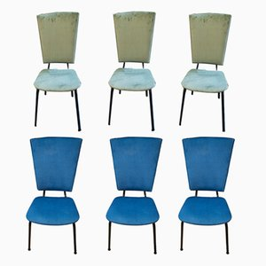 Mid-Century Italian Blue & Green Chairs, Set of 6
