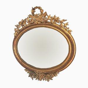Espejo de pared francés antiguo estilo Napoleón III de madera dorada y vidrio de mercurio