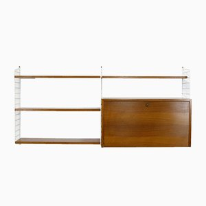 Vintage Walnut Veneered Modular Shelving System by Katja & Nisse Strinning for String, 1960s