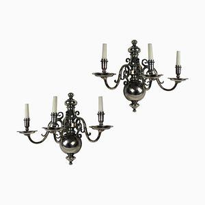 Versilberte flämische Vintage Wandlampen, 2er Set