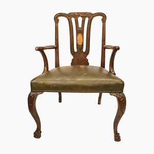 18th Century English George III Mahogany Chippendale Desk Armchair