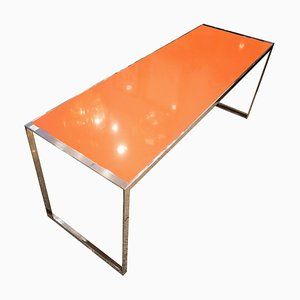 Orange Italian Quartz & Steel Table, 1970s