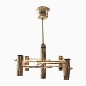 Lámpara colgante vintage con cinco luces de Gaetano Sciolari, años 70