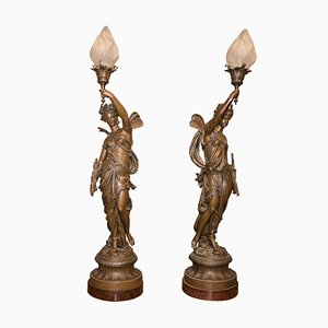 Neoclassical Style French Patinated Zinc Lamps, 1900s, Set of 2