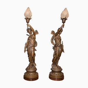 Patinierte französische Lampen aus Zink im neoklassizistischen Stil, 1900er, 2er Set