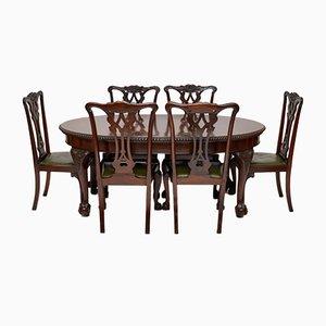 Antiker Esstisch & sechs Stühle aus Mahagoni im Chippendale Stil