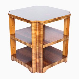 Mesa auxiliar vintage de chapa de nogal