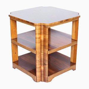 Tavolino vintage impiallacciato in noce