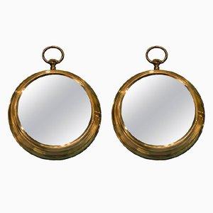 Specchi Mid-Century in bronzo, set di 2