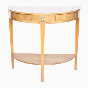 Vintage Walnut Demi-Lune Console Table