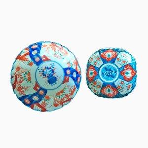 Japanische Imari Schale und kleines Geschirr-Set aus Porzellan, 18. Jh
