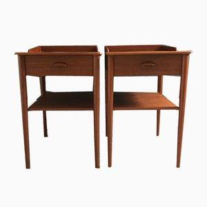 Danish Teak Bedside Tables, 1960s, Set of 2