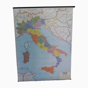 Mapa geográfico político y físico de Italia de Belletti Misano Adriatica Rimini, años 70
