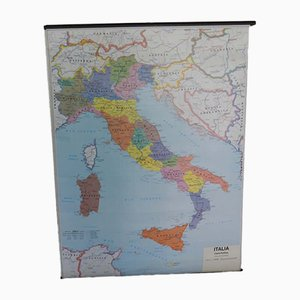 Political & Physical Geographic Map of Italy from Belletti Misano Adriatica Rimini, 1970s