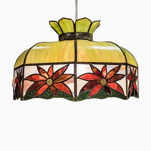 Art Nouveau French Leaded Polychrome Glass Lamp