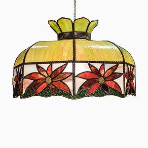 Art Nouveau French Leaded Polychrome Glass Lamp