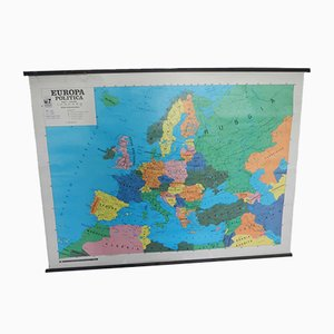 Political & Physical Geographic Map of Europe from Maniffatura Del Tiguglio, 1980s