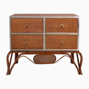 Rattan, Bamboo, Brass & Chrome Commode from Vivai del Sud, 1970s