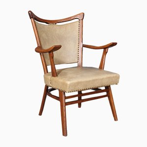Oak and Skai Windsor Armchairs, 1950s, Set of 2