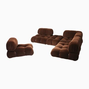 Vintage Brown Velvet Camaleonda Sectional Sofa by Mario Bellini for C&B Italia